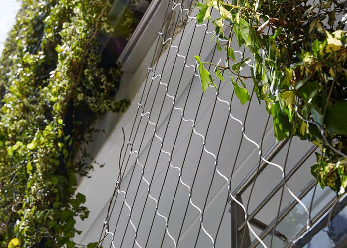 Silver Stainless Steel Cable Trellis Mesh With 7*7 Rope Construction