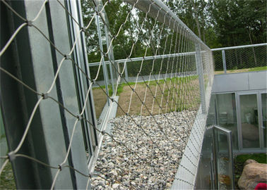 Knotted Stainless Steel Balustrade Mesh , Durable Metal Fence Mesh Screen