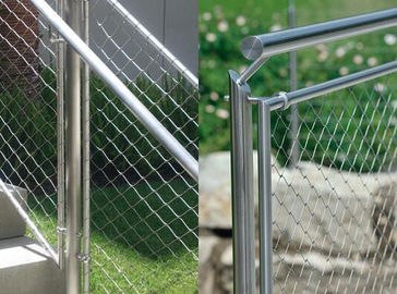 304 / 316 Stainless Steel Balustrade Mesh , Baby Proof Stair Railing Safety Mesh