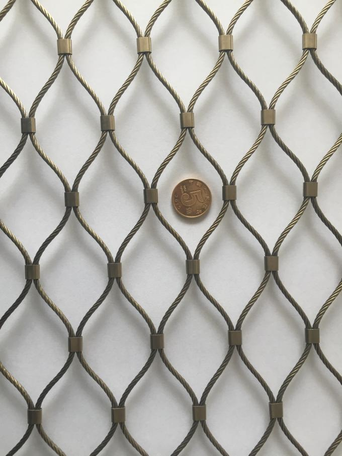 Stainless Steel 316 Hand Woven Rope Metal Fence Protective Mesh For Tiger/Lion