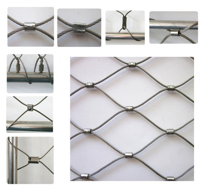 Ferrule And Knotted Rope Wire Stainless Steel Balustrade Mesh For Security Garden Fence Netting